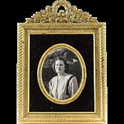 Miniature Gilt Bronze Photo Frame with Easel Back & Black Velvet Border