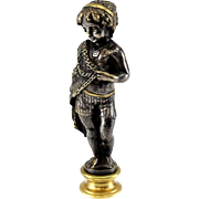 Continental Solid Silver Gilt Figural Wax Seal 19th Century, Crown Armorial Young Child