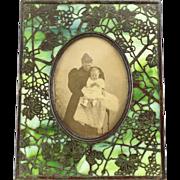 Tiffany Studios Grapevine Pattern Bronze and Green Slag Glass Picture Frame, circa 1900