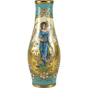Dresden Hand Painted Porcelain Vase by Richard Klemm, Art Nouveau circa 1920