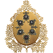 Italian Gilt Bronze and Pietra Dura Inlaid 3 Photo Picture Frame, Mid 19th Century