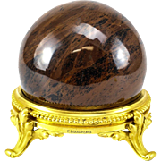 Jasper Sphere on Gilt Bronze Base by the Ferdinand Barbedienne Foundry, Late 19th Century