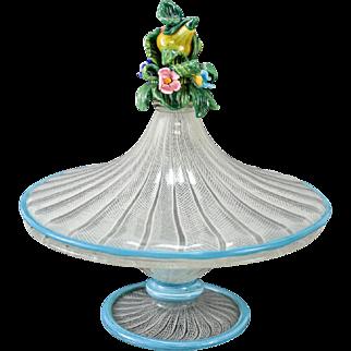 Venetian Art Glass Latticino Lidded Candy Dish, circa 1930. Floral Finial