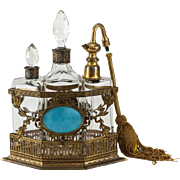 French Gilt Bronze Guilloche Enamel Art Glass Perfume Vanity Set, circa 1900