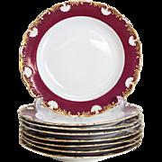 8 Meissen Porcelain Scallop Rimmed Dinner Plates, circa 1900. Maroon & Gilt