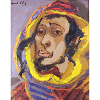 Mane-Katz (Israeli 1894-1962) Oil Canvas Portrait Painting of Rabbinical Student