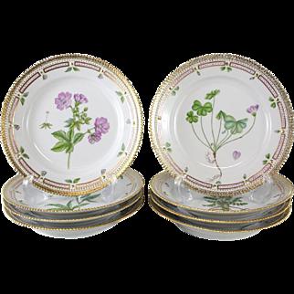 8 Royal Copenhagen Flora Danica Luncheon Plates #604, Date code for 1992-1999