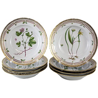 8 Royal Copenhagen Flora Danica Rimmed Soup Bowls #604, Dated 1935