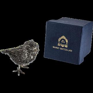 Mario Buccellati 800 Italian Silver Chick Figure Table Ornament, Original Box