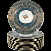 12 George Jones Crescent China Enamel & Gilt Jeweled Dinner Plates, circa 1900