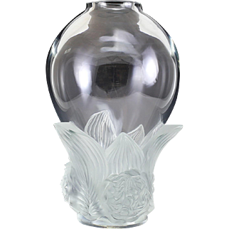 Lalique France Clear & Frosted Crystal Peonies Vase, Limited Edition of 99