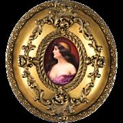 "Continental Hand Painted Porcelain Plaque Gilt Frame ""Una Gitana"" after Asti, circa 1900"