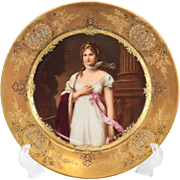 Royal Vienna Style Porcelain Hand Painted Cabinet Plate Queen Louise of Prussia 19th Century