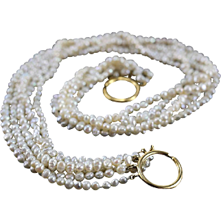 Tiffany & Co Paloma Picasso 18 Karat Yellow Gold 5 Strand 3.5mm Freshwater Pearl Necklace