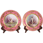Pair of Lenox for Tiffany & Co. Hand Painted Porcelain Cabinet Plates by H. Nosek, circa 1900