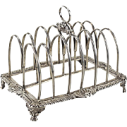 Samuel Hennel London English Regency Sterling Silver Bread Toast Rack, 1811