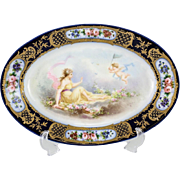 Sevres France Hand Painted Porcelain Oval Dish, circa 1900. Signed A. Collol