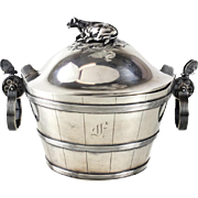 Gorham Sterling Silver Covered Butter Tub Dish #465B, 1869. Figural Cow Finial