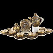 Japanese Satsuma Dragon Tea Service Set, Immortal Dragons Meiju Period, circa 1900