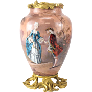 19th Century French Enamel & Gilt Bronze Mounted Courting Figural Scene Vase