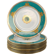 10 Wedgwood Porcelain Dinner Plates in Columbia Powder Turquoise #W3995