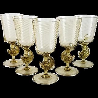 5 Venetian Art Glass Amber Goblets, Dolphin Stem, circa 1940. Attributed to Salviati