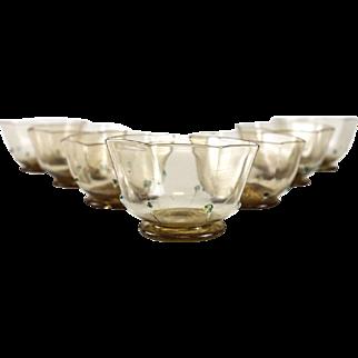 7 Venetian Art Glass Amber & Gold Fleck Berry Bowls, circa 1940. Octagonal Lobed