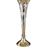 Moser Glass Gilt Sterling Silver & Enamel Trumpet Vase, 19th Century