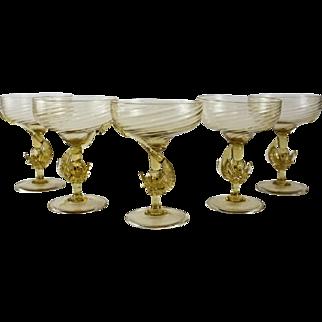 5 Venetian Art Glass Amber Champagne Glasses, circa 1940. Attributed to Salviati