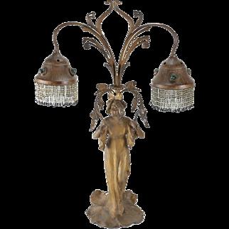 Austrian Patinated and Gilt Metal Chunk Glass Table Lamp. Art Nouveau circa 1910