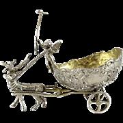 Samuel Boyce Landeck Miniature Sterling Silver Cherub & Reindeer & Cart, 1896