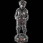 """V. Szczeblewski (Polish 19th C) Patinated Bronze Sculpture """"Mousse Siffleur"""""""