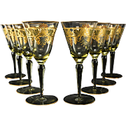 8 Venetian Amber Art Glass Hand Painted Gilt Water Goblets, circa 1930