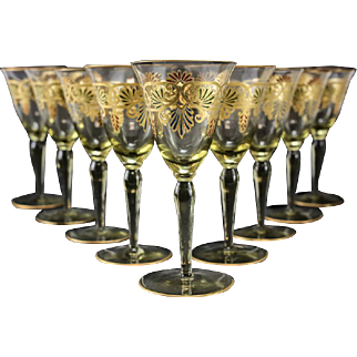 9 Venetian Amber Art Glass Hand Painted Gilt Wine Goblets, circa 1930