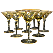 8 Venetian Amber Art Glass Hand Painted Gilt Martini Champagne Glasses, circa 1930