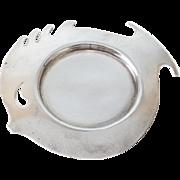 Hermes France Sterling Silver Modernist Fish Form Ashtray, Mid Century
