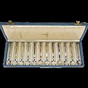 12 Holland Sterling Silver & Enamel Demitasse Spoons in Black Starr Gorham Box