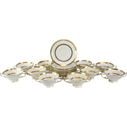 10 Minton Tiffany & Co. Porcelain Soup Bouillon & Saucers Gold Band #G8338, circa 1900