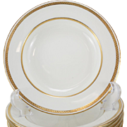 Twelve Minton Tiffany & Co. Porcelain Rimmed Soup Bowl, Gold Band, #G8338, circa 1900