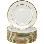 12 Minton Tiffany & Co. Porcelain Dinner Plates, Gold Band #G8338, circa 1900