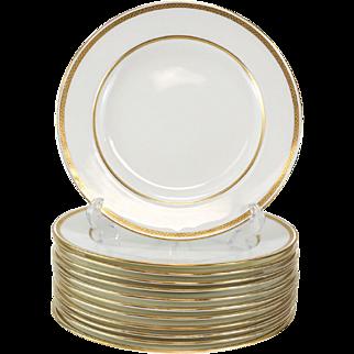 12 Minton Tiffany & Co. Porcelain Dinner Plates, Gold Band #G8338, circa 1900