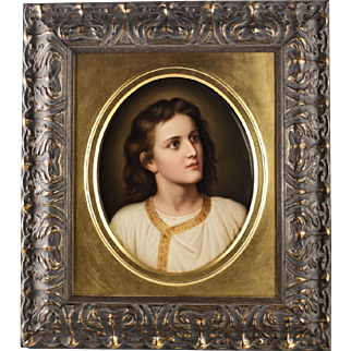Fine Berlin KPM Porcelain Plaque Young Jesus by Heinrich Hofmann, Signed 19th Century