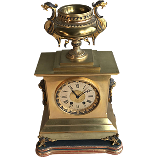 Antique bronze decorative mantel clock on stand by HP & Co dated 1884