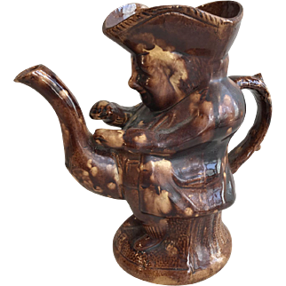 Antique English Victorian 19th Century Treacle Glazed Toby Jug with low spout