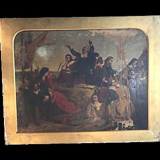 Antique Georgian painting of The Pilgrim Fathers