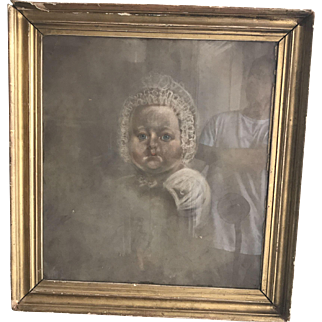 Antique English 19th Century painting pastel portrait of baby in lace bonnet circa 1850