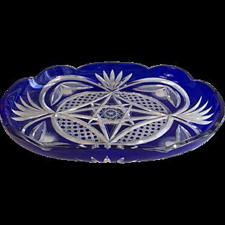 Antique Bohemian Cobalt Blue Glass cut to clear dish