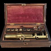 Antique English 19th Century brass microscope