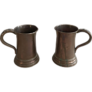 Pair antique traditional English brass ale tankards