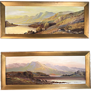 Pair antique English landscapes in oil by J Jameson